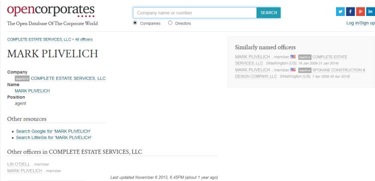 MARK PLIVELICH (agent) -- OpenCorporates 2014-11-17 17-36-17