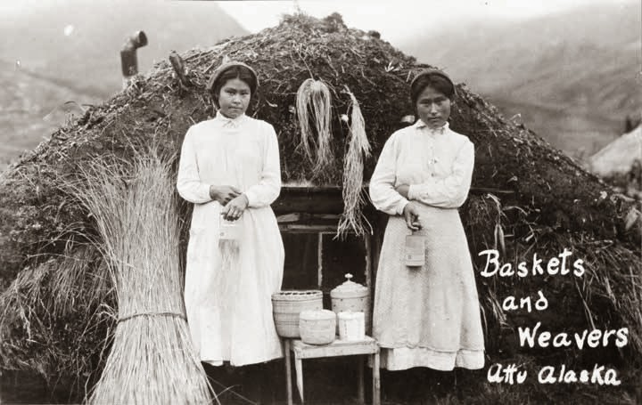 Aleut-Indians-Alaska-girls-weaving